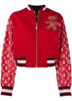 Philipp Plein teddy bear logo print bomber jacket