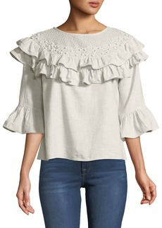 Philosophy 3/4-Sleeve Pearly-Trim Ruffle Blouse