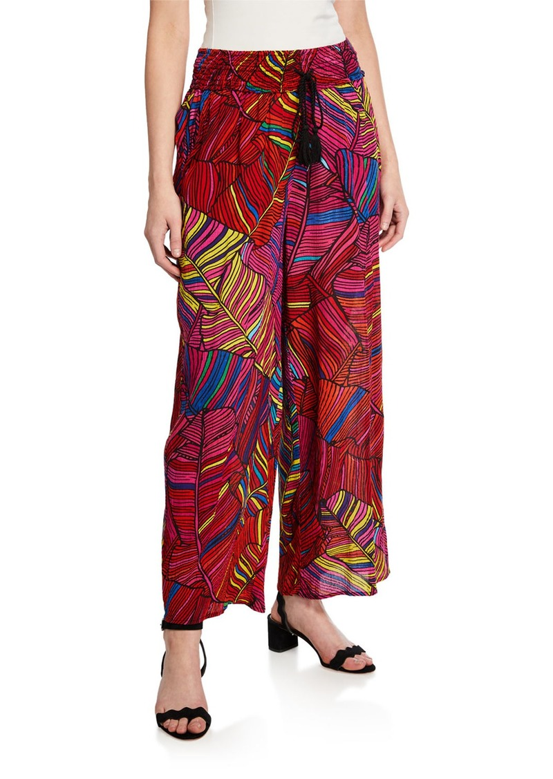 Philosophy Abstract Printed Smocked Waist Wide-Leg Pants
