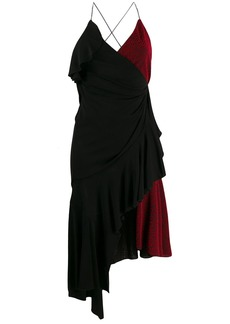 Philosophy asymmetric wrap-style color-block dress