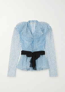 Philosophy Belted Ruffled Flocked Lace Blouse