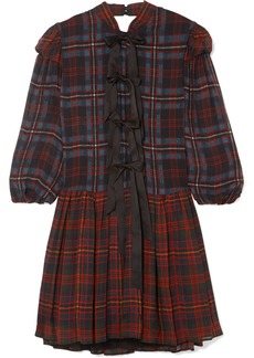 Philosophy Bow-detailed Tartan Chiffon Mini Dress