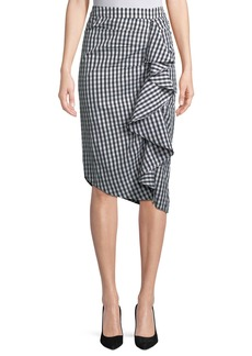 Philosophy Cascading-Ruffled Gingham Skirt