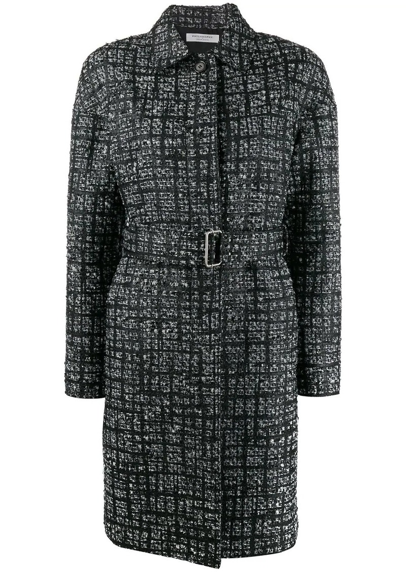 Philosophy check pattern single breasted coat