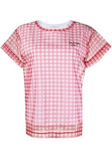Philosophy check print mesh overlay T-shirt