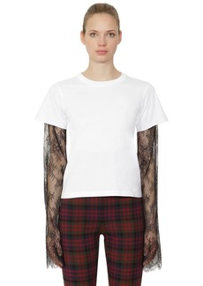 Philosophy Cotton Jersey & Lace Long Sleeve T-shirt