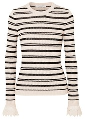 Philosophy Crochet-trimmed Striped Ribbed Cotton-blend Sweater
