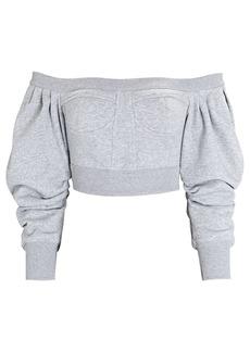 Philosophy Cropped Off-the-Shoulder Bustier Sweatshirt