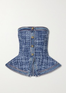 Philosophy Denim And Bouclé Peplum Bustier Top