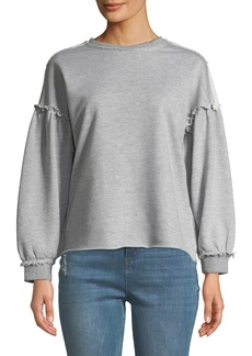 Philosophy Distressed Ruffle French Terry Trim Sweatshirt