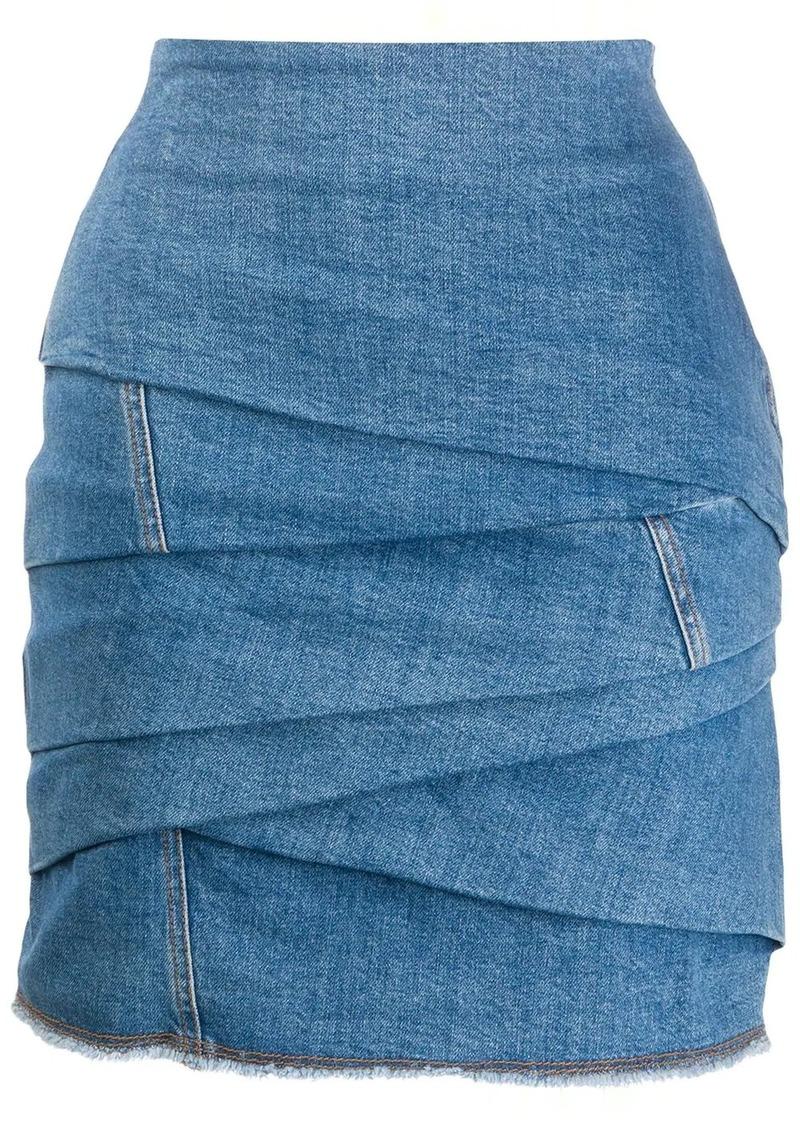 Philosophy draped denim skirt