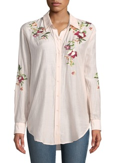 Philosophy Embroidered Button-Front Blouse