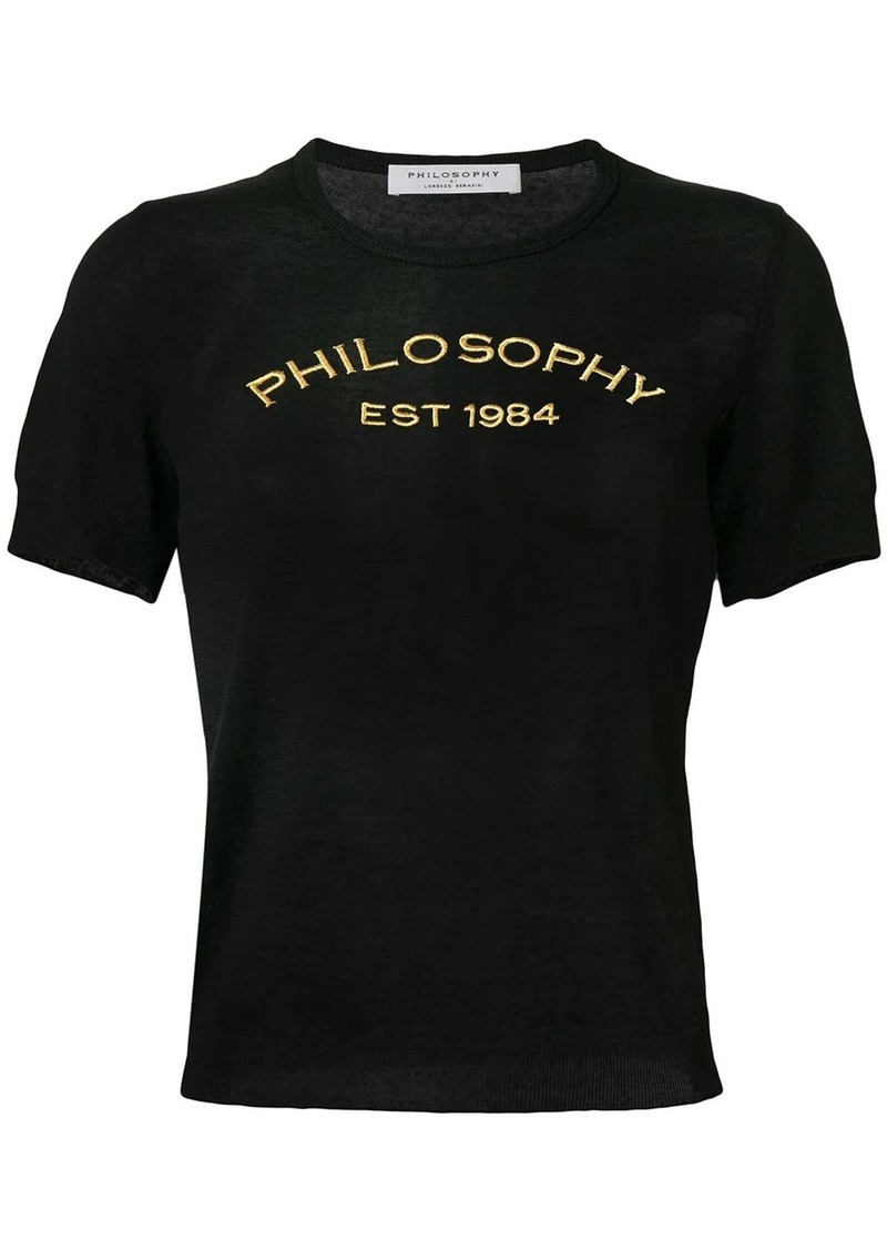 Philosophy embroidered logo T-shirt