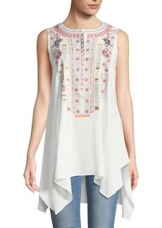 Philosophy Embroidered Scoop-Neck Blouse