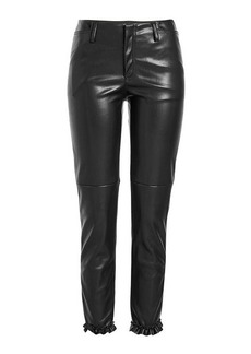 Philosophy Faux Leather Pants with Ruffle Trim Ankles