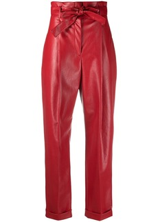 Philosophy faux-leather paperbag-waist trousers