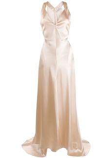 Philosophy flared satin gown