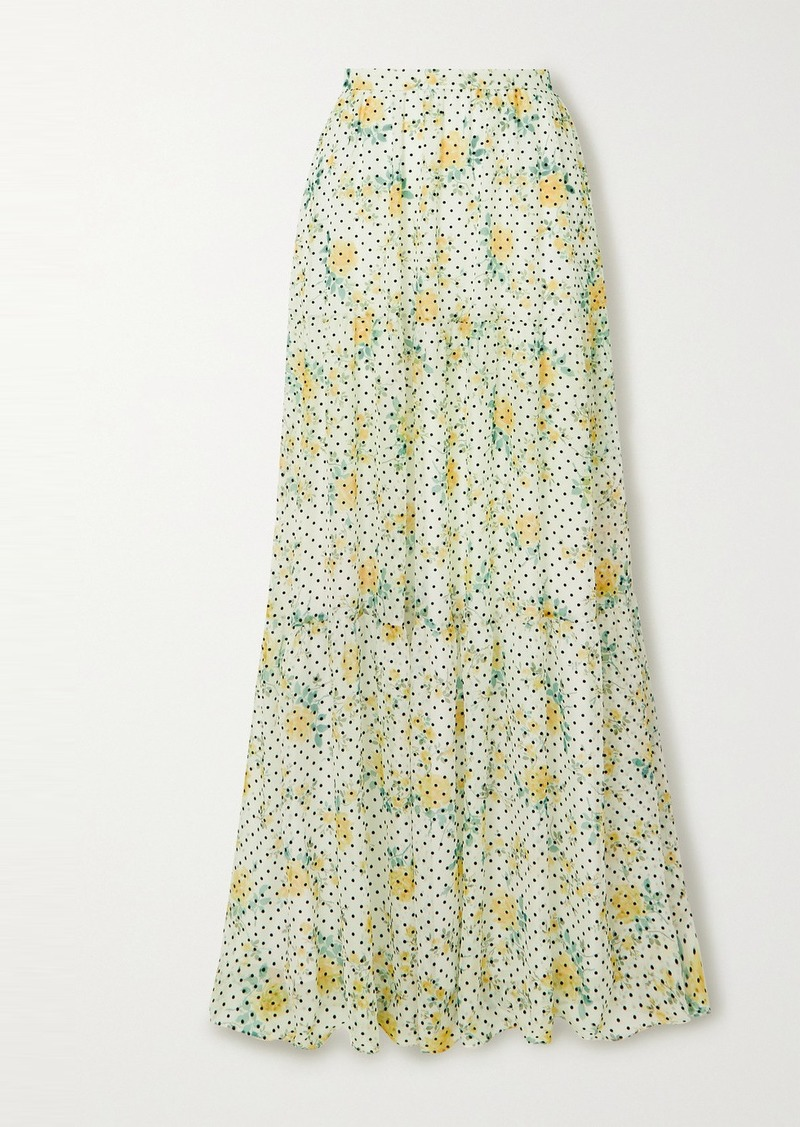 Philosophy Flocked Floral-print Georgette Maxi Skirt