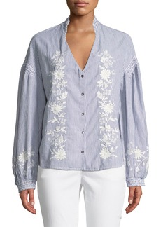 Philosophy Floral Embroidery Pinstripe Button-Down Blouse