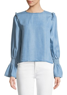 Philosophy Flounce-Sleeve Chambray Blouse