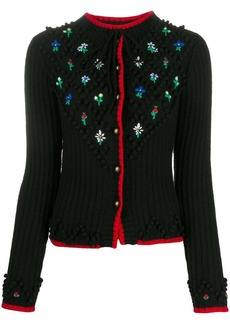 Philosophy flower embroidery virgin wool cardigan