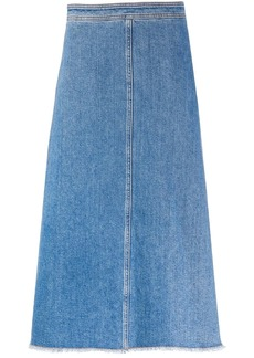 Philosophy frayed A-line denim skirt