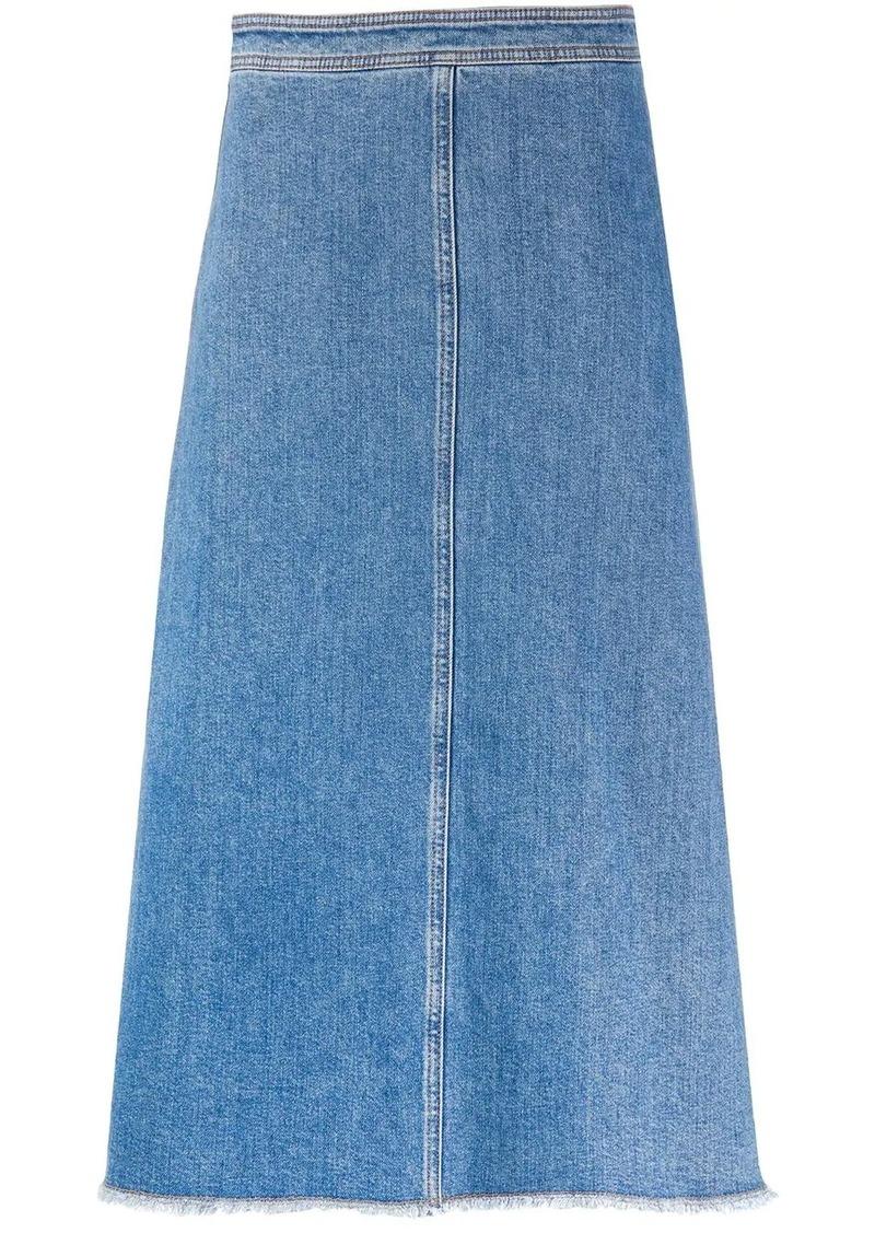 Philosophy frayed A-line denim skirt