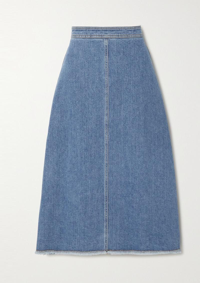 Philosophy Frayed Denim Skirt