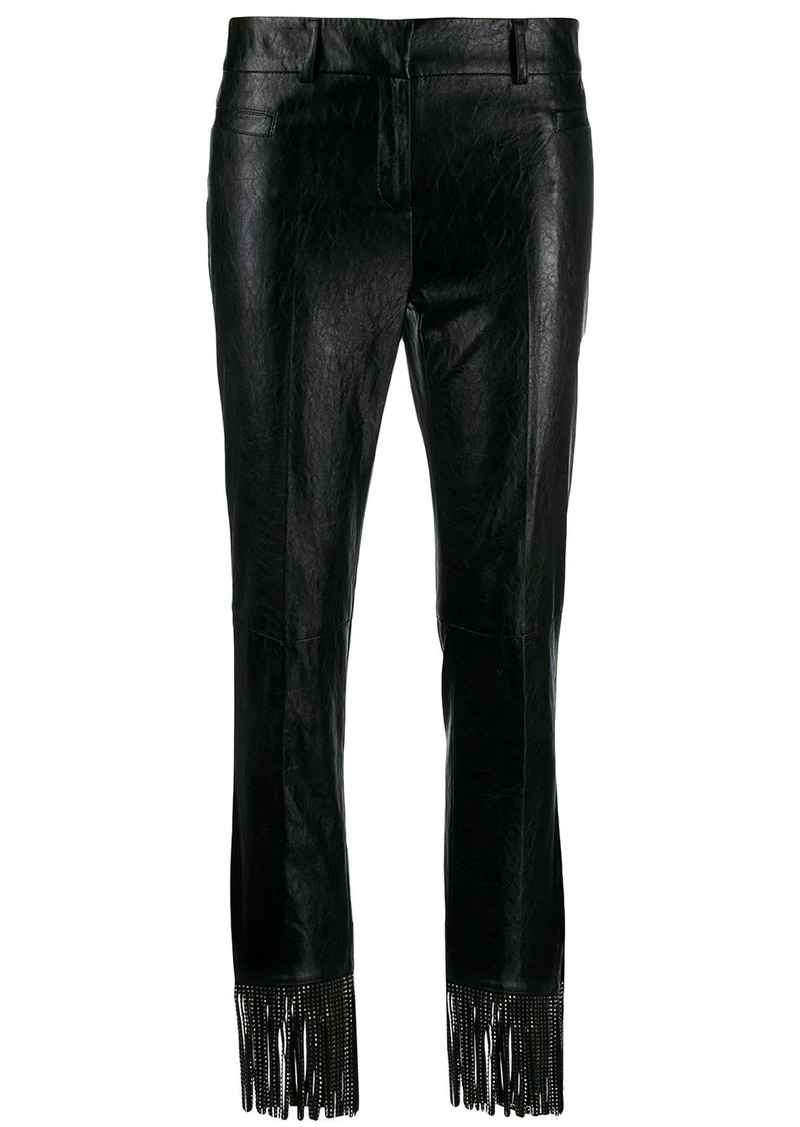 Philosophy fringed faux-leather trousers