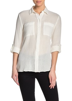 Philosophy Front Pocket Semi-Sheer Blouse