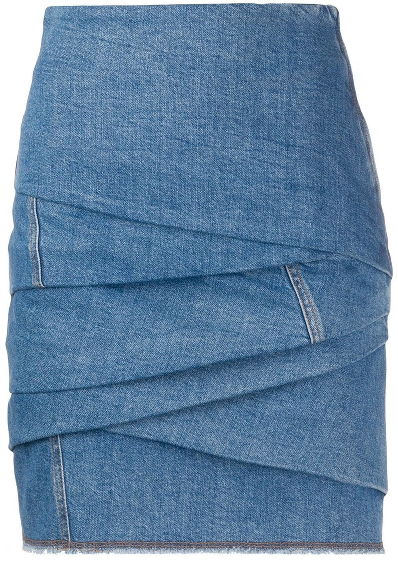 Philosophy gathered denim mini skirt