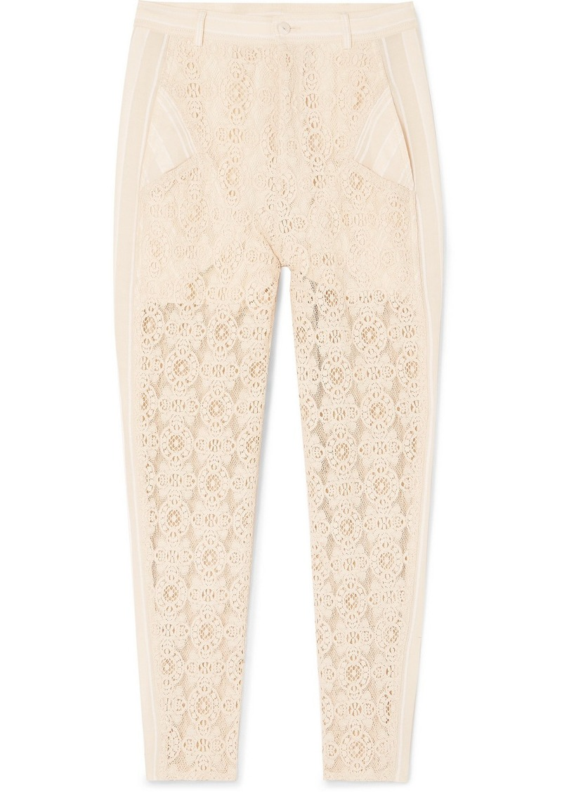 Philosophy Gauze-trimmed Cotton-blend Lace Straight-leg Pants