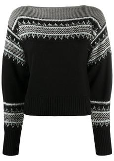 Philosophy jacquard knit boat neck jumper