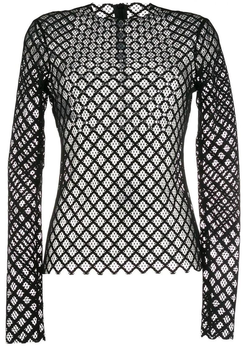 Philosophy lace crystal-embellished top