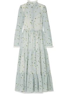 Philosophy Lace-trimmed Floral-print Chiffon Midi Dress