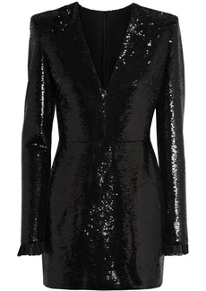 Philosophy Lace-trimmed Sequined Crepe Mini Dress
