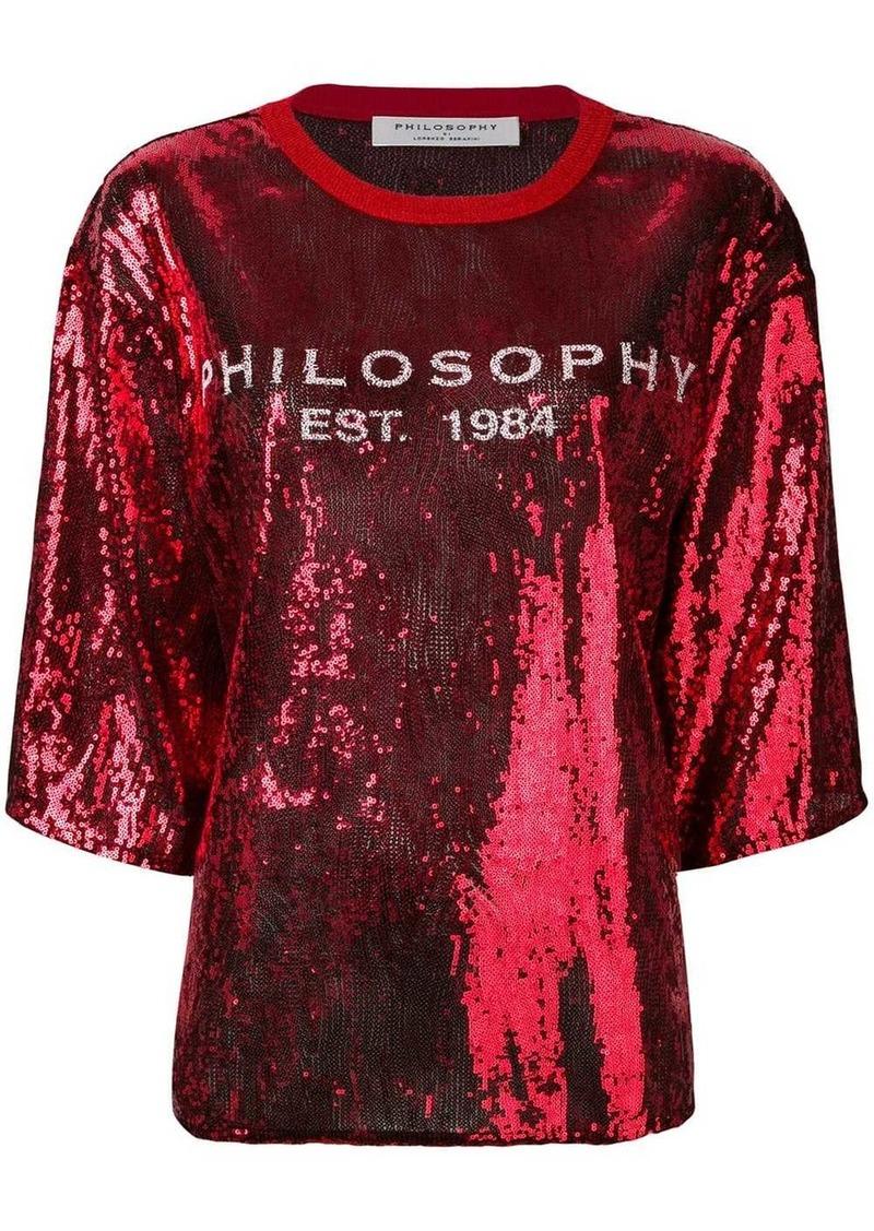 Philosophy logo embellished blouse
