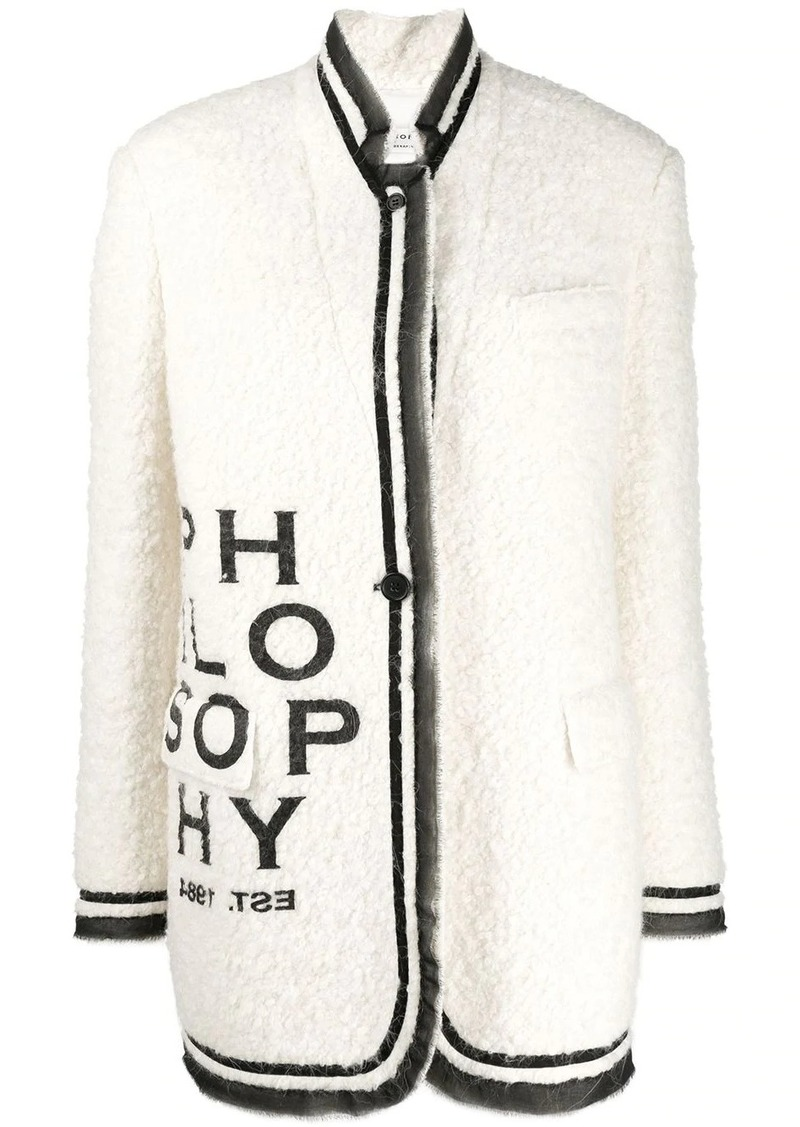 Philosophy logo print coat