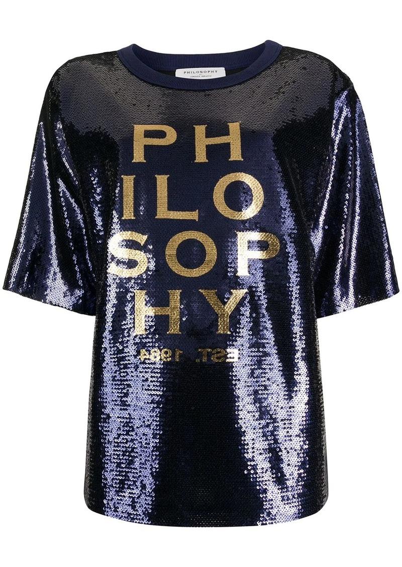 Philosophy logo printed sequin T-shirt