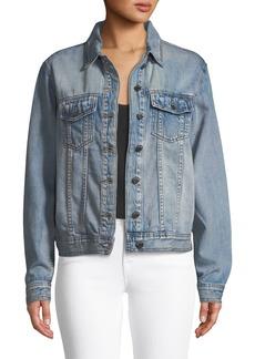 Philosophy Long-Sleeve Denim Jacket w/ Floral Embroidered Back