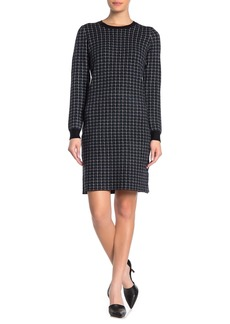 Philosophy Long Sleeve Houndstooth Grid Print Dress