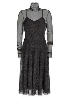 Philosophy Midi Dress with Mesh Overlay