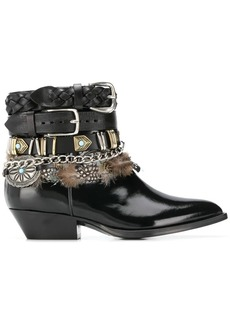 Philosophy multi-buckle feather-trim boots