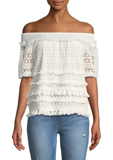 Philosophy Off-The-Shoulder Crocheted Tee