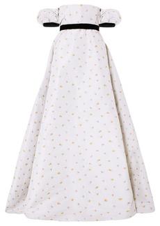 Philosophy Off-the-shoulder Velvet-trimmed Floral-jacquard Gown