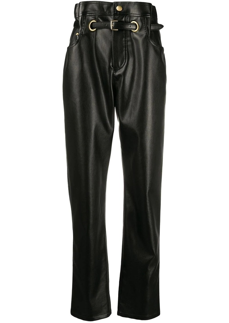 Philosophy paperbag-waist faux-leather trousers