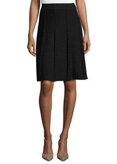 Neiman Marcus Faux-Cable Flared Skirt