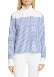 Philosophy Di Lorenzo Serafini Stripe Ruffle Cotton Blend Top