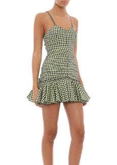 Philosophy di Lorenzo Serafini - Women's Checkered Ruched Taffetta Mini Dress - Green - Moda Operandi