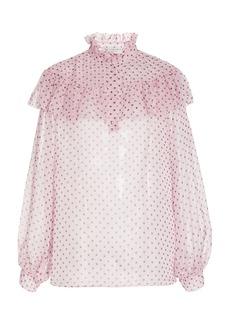 Philosophy di Lorenzo Serafini - Women's Polka-Dot Printed Chiffon Blouse - Pink - Moda Operandi